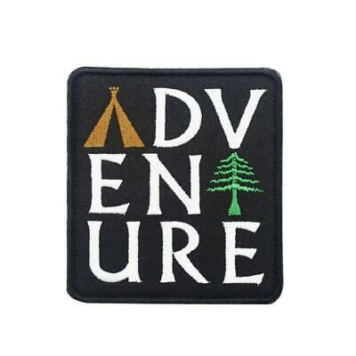 """ADVENTURE IRON ON PATCH 3.5"""" Camping Outdoor Travel Nature Embroidered Applique"""