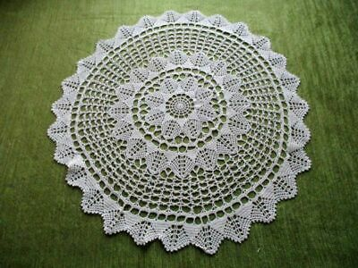"VINTAGE TABLE CENTER ~ HAND CROCHET ~ round ~ 20"" dia"