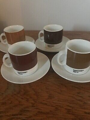 Pantone Espresso Coffee Cups & Saucers Set 4 Shades Of Brown 464 1545 175 1395