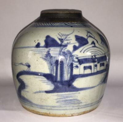 Qing Dynasty Canton Chinese Blue and White Hand Painted Stoneware Ginger Jar