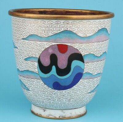 Retro Chinese Cloisonne Enamel Jar Old Craft Decorative Gift Collection
