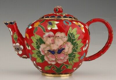 Precious Chinese Cloisonne Hand-Carved Flower Teapot Auspicious Gift Collection