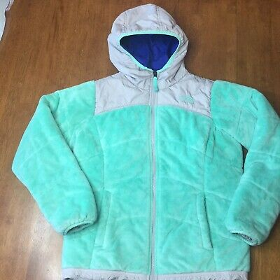 Girls North Face Reversible Winter Jacket Size 14/16 Large Coat Mint Green Grey