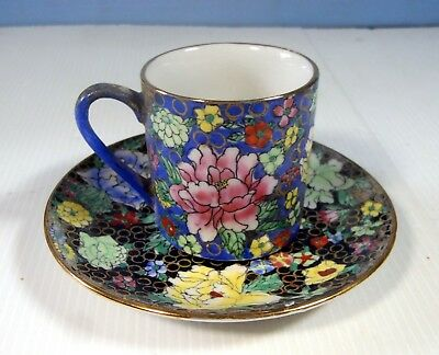 Antique hand painted Canton Famille Rose teacup saucer circa 1960s Retired Unuse