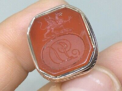 Large Antique Victorion 9Ct Rolled Gold Carved Carneilan Intaglio Watch Fob Seal