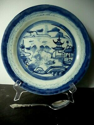 """10 1/8"""" Antique Delft Blue White Canton  Dinner Plate.19th Century China Export"""