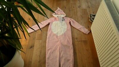 * Bnwt ** Girls Size 13-14 Pink Fluffy Hooded Kids Onesey Unicorn Design *New*