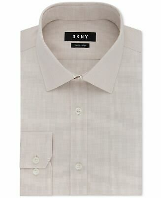 DKNY Men's Dress Shirt Beige Size 16 Slim Fit Stretch Button Down $85 144
