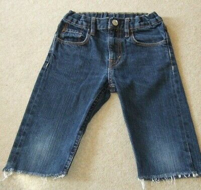 "Boy's Cut off Jeans by H & M  Inside leg 9"" and adjustable waist Size 4-5 years"