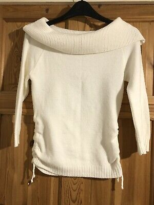 NEW LOOK 915 Girls Pretty Cream Wide Polo Neck Ruched Detail Jumper Age 10-12