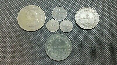 Lot of 6 1822 to 1867 Coins - Old Vintage World Circulated Italy Centesimi Soldi
