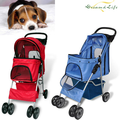 Pet Travel Stroller Dog Cat Pram Pushchair Travel Cart Folding Buggy Carrier