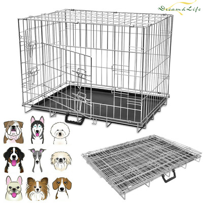 Folding Pet Dog Cat Puppy Cage Strong Metal Travel Crate Training Carrier Animal