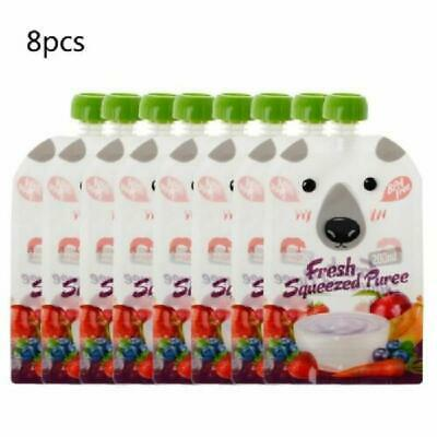 8 Pcs Resealable Fresh Squeezed Pouches Baby Kids Weaning Food Reusable Bags