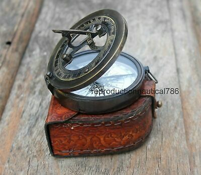 Nautical Astrolabe Solid Brass Antique Working Compass With Leather Case Decor