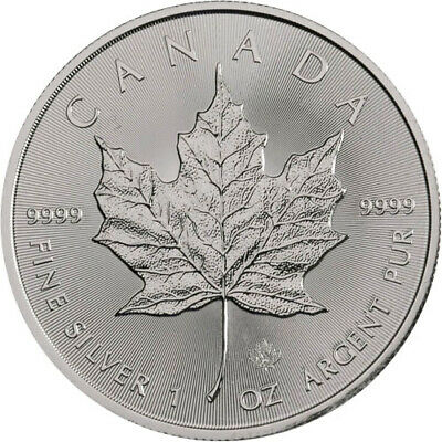 Roll of 25 - 2019 1 oz Canadian Silver Maple Leaf .9999 Fine $5 Coin BU (Lot,