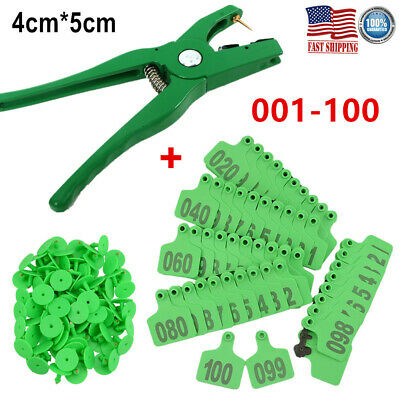 100 Number Sheep Goat Pig Cattle Cow Livestock Ear Tag ID+Applicator Plier 4*5cm