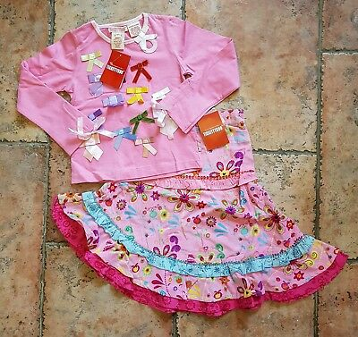 TICKITTYBOO stunning ribbon top & floral skirt -size 4-5 yrs BRAND NEW WITH TAGS