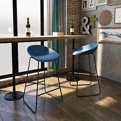 2 × Fabric Bar Stools Kitchens with Padded &Black Metal Simple Breakfast Chairs
