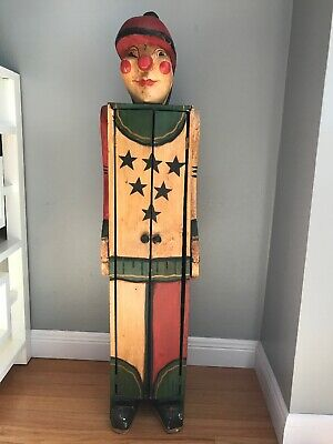 "Folk Art Clown Wooden Cabinet Hand Made One Of A Kind Vintage 40"" X 12"" X 10"""