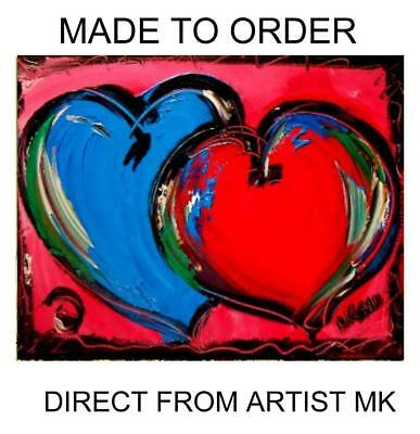 VALENTINE HEARTS  Abstract Modern Original Oil Painting ON CANVAS POP 45YH54Y