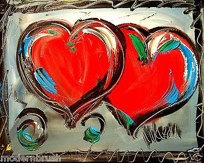 MODERN ABSTRACT VALENTINE HEARTS  -    LARGE ORIGINAL OIL  PAINTING - dfgn