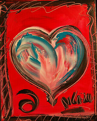HEART VIBE ABSTRACT  stretched  PAINTING CANVAS ART CONTEMPORARY 87PH9O
