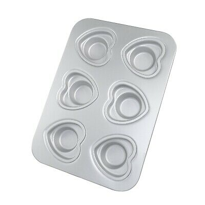 Anodized 6 Heart Cup Muffin Pan - Hot Stuff Bakeware
