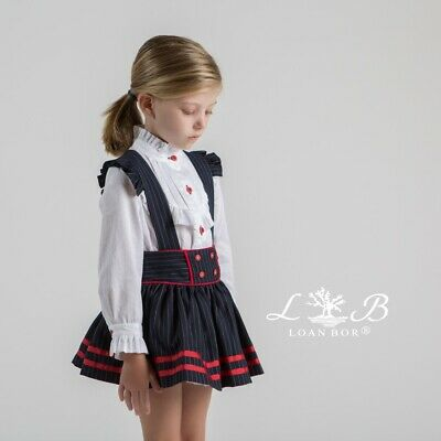 Brand new spanish girls Loan Bor 2 piece navy and white skirt suit various ages