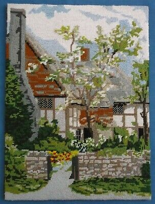 Vintage Hand Embroidered English Cottage Garden Scene Picture Panel