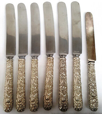 S Kirk Son Repousse Rose Sterling Silver 6 Long Blunt French Hollow Knives