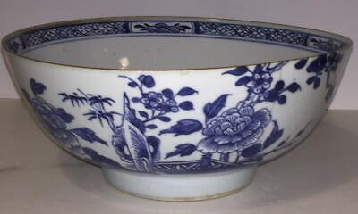18th C Chinese Export Porcelain Blue & White Peony Punch Bowl C 1736+