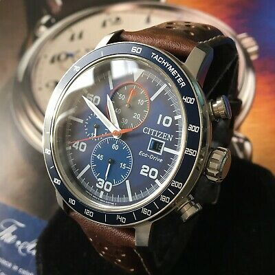 Mens Citizen Chronograph Watch Eco Drive Blue Dial CA0648-09L Brown Genuine