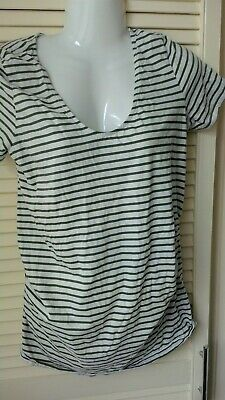 Womens green & white striped short sleeved  Maternity top New Look size 10