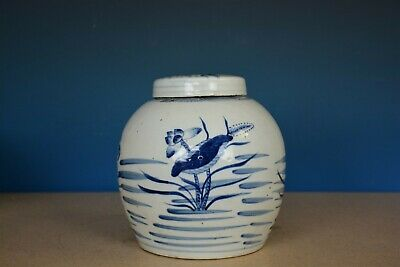 Fine Large Antique Chinese Blue And White Porcelain Tea Jar T1517
