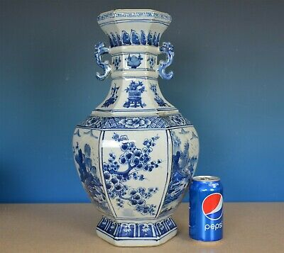 Magnificent Antique Chinese Blue And White Porcelain Vase Marked Kangxi G9267
