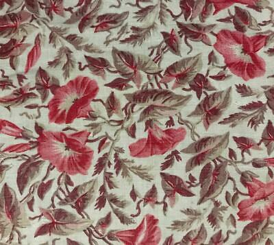 BEAUTIFUL LATE 19th CENTURY FRENCH PROVENCAL LINEN COTTON, MORNING GLORY, 650