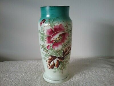 Vintage Antique Vase flowers blue and white pink handpainted  26cms tall