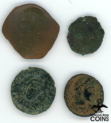 Lot of 4: Ancient Rome Imperial & Byzantine Coins: Arcadius, Theodosius I, etc.
