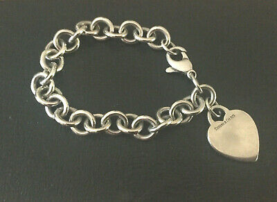 """Authentic Tiffany & Co 925 Sterling Silver Heart Tag Charm 7.5"""" Bracelet"""