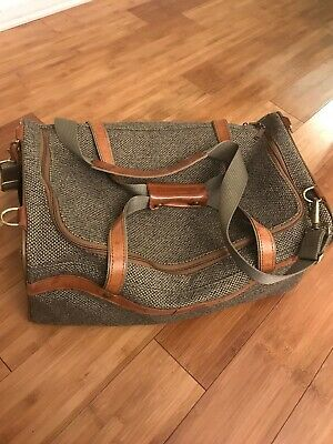 Hartmann Vintage Tweed and Leather Duffel Travel Luggage Bag Carry On