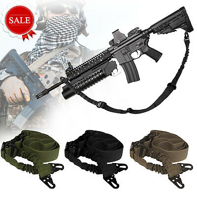 Tactical 1 One 2 Point Gun Sling Shoulder Strap Outdoor Rifle Metal Buckle Sling
