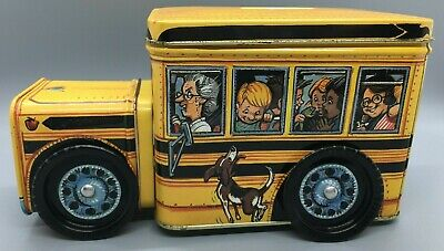 Vintage Yellow School Bus Money Coin Bank Tin Students Driver Dog - Wheels Move