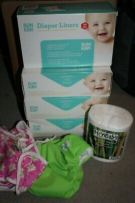 Bumkins Baby Diapers Liners LOT 100 400 Kushies Mg Baby Bamboo Flushable