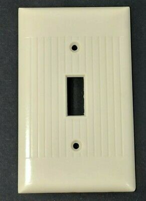VTG Sierra Electric Bakelite Ivory Half Ribbed Single Light Switch Plate Cover