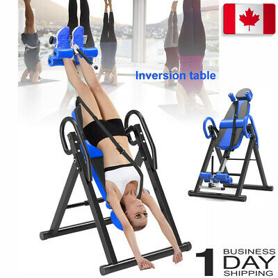 Blue Heavy Duty Inversion Table Back & Neck Pain Relief Blood Circulation CA PRO