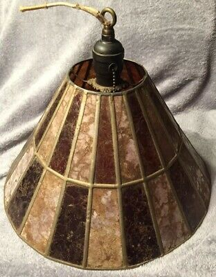 Antique Slag Stained Glass Hanging Shade Fixture Pat. 1907 Leaded Copper Light