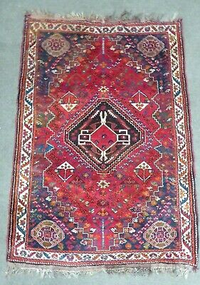 Antique Persian Eastern Hand Knotted Woollen Woven Floor Rug Carpet