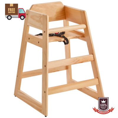 Restaurant Dining Toddler Kid Baby Wooden Safety High Wood Chair w/ Secure Belt