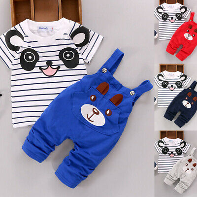 2pcs/set Unisex Kids Toddler Short Sleeve Round Neck Tops+pants Printed Overall
